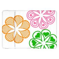 Flower Floral Love Valentine Star Pink Orange Green Samsung Galaxy Tab 8 9  P7300 Flip Case by Alisyart