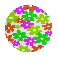 Flowers Floral Sunflower Rainbow Color Pink Orange Green Yellow Ornament (round) by Alisyart