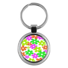 Flowers Floral Sunflower Rainbow Color Pink Orange Green Yellow Key Chains (round)  by Alisyart