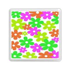 Flowers Floral Sunflower Rainbow Color Pink Orange Green Yellow Memory Card Reader (square)  by Alisyart