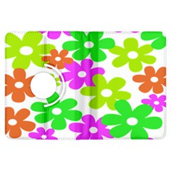 Flowers Floral Sunflower Rainbow Color Pink Orange Green Yellow Kindle Fire Hdx Flip 360 Case by Alisyart