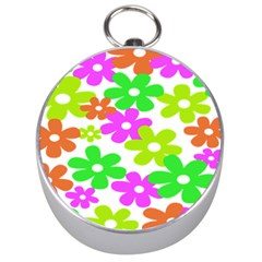 Flowers Floral Sunflower Rainbow Color Pink Orange Green Yellow Silver Compasses by Alisyart