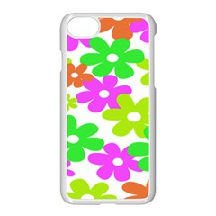 Flowers Floral Sunflower Rainbow Color Pink Orange Green Yellow Apple Iphone 7 Seamless Case (white) by Alisyart