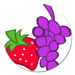 Fruit Grapes Strawberries Red Green Purple Magnet 5  (round) by Alisyart