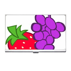 Fruit Grapes Strawberries Red Green Purple Business Card Holders by Alisyart