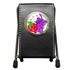 Fruit Grapes Strawberries Red Green Purple Pen Holder Desk Clocks by Alisyart