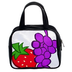 Fruit Grapes Strawberries Red Green Purple Classic Handbags (2 Sides) by Alisyart