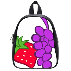 Fruit Grapes Strawberries Red Green Purple School Bags (small)  by Alisyart