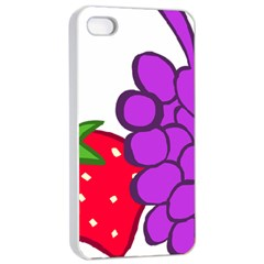 Fruit Grapes Strawberries Red Green Purple Apple Iphone 4/4s Seamless Case (white) by Alisyart
