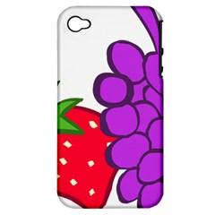 Fruit Grapes Strawberries Red Green Purple Apple Iphone 4/4s Hardshell Case (pc+silicone) by Alisyart