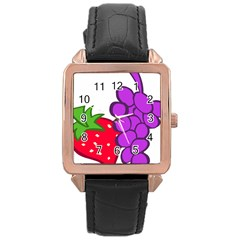 Fruit Grapes Strawberries Red Green Purple Rose Gold Leather Watch  by Alisyart