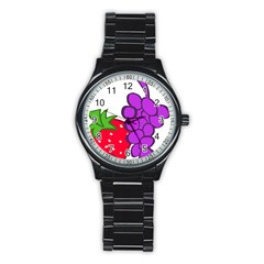 Fruit Grapes Strawberries Red Green Purple Stainless Steel Round Watch by Alisyart