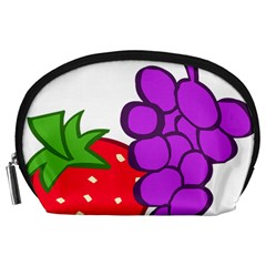 Fruit Grapes Strawberries Red Green Purple Accessory Pouches (large)  by Alisyart
