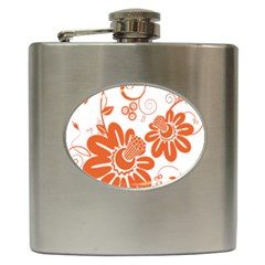 Floral Rose Orange Flower Hip Flask (6 Oz) by Alisyart