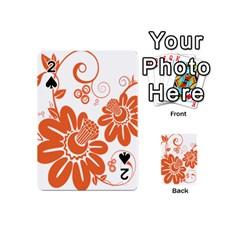 Floral Rose Orange Flower Playing Cards 54 (mini)  by Alisyart