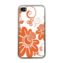 Floral Rose Orange Flower Apple Iphone 4 Case (clear) by Alisyart