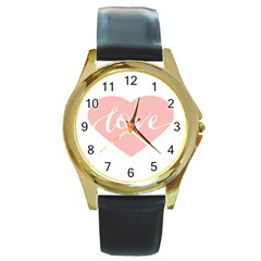 Love Valentines Heart Pink Round Gold Metal Watch by Alisyart