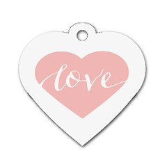 Love Valentines Heart Pink Dog Tag Heart (one Side) by Alisyart