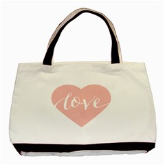 Love Valentines Heart Pink Basic Tote Bag (two Sides) by Alisyart