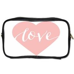 Love Valentines Heart Pink Toiletries Bags by Alisyart