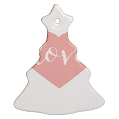 Love Valentines Heart Pink Christmas Tree Ornament (two Sides) by Alisyart
