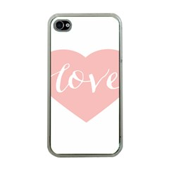 Love Valentines Heart Pink Apple Iphone 4 Case (clear) by Alisyart
