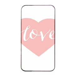 Love Valentines Heart Pink Apple Iphone 4/4s Seamless Case (black) by Alisyart