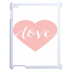 Love Valentines Heart Pink Apple Ipad 2 Case (white) by Alisyart