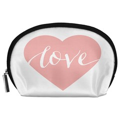 Love Valentines Heart Pink Accessory Pouches (large)  by Alisyart