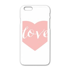 Love Valentines Heart Pink Apple Iphone 6/6s White Enamel Case by Alisyart