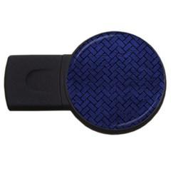 Brick2 Black Marble & Blue Leather (r) Usb Flash Drive Round (2 Gb) by trendistuff