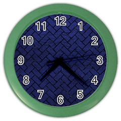 Brick2 Black Marble & Blue Leather (r) Color Wall Clock by trendistuff