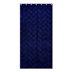Brick2 Black Marble & Blue Leather (r) Shower Curtain 36  X 72  (stall) by trendistuff