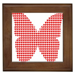 Hearts Butterfly Red Valentine Love Framed Tiles by Alisyart