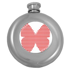 Hearts Butterfly Red Valentine Love Round Hip Flask (5 Oz) by Alisyart