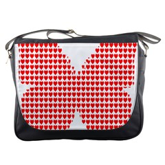Hearts Butterfly Red Valentine Love Messenger Bags by Alisyart