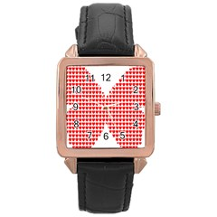 Hearts Butterfly Red Valentine Love Rose Gold Leather Watch  by Alisyart