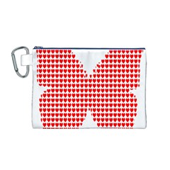 Hearts Butterfly Red Valentine Love Canvas Cosmetic Bag (m) by Alisyart