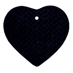 Brick2 Black Marble & Blue Leather Heart Ornament (two Sides) by trendistuff