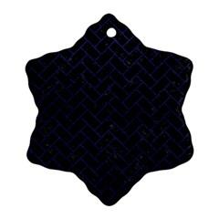 Brick2 Black Marble & Blue Leather Ornament (snowflake) by trendistuff