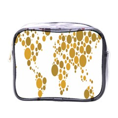 Map Dotted Gold Circle Mini Toiletries Bags by Alisyart