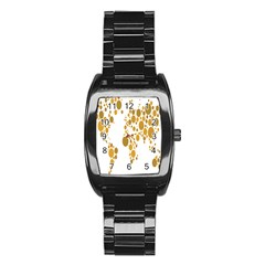 Map Dotted Gold Circle Stainless Steel Barrel Watch by Alisyart