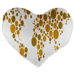 Map Dotted Gold Circle Large 19  Premium Flano Heart Shape Cushions by Alisyart