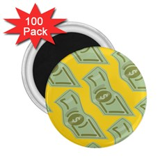 Money Dollar $ Sign Green Yellow 2 25  Magnets (100 Pack)  by Alisyart
