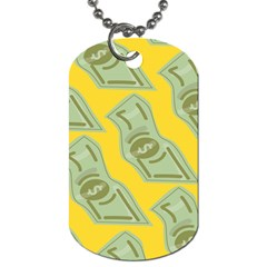 Money Dollar $ Sign Green Yellow Dog Tag (one Side) by Alisyart