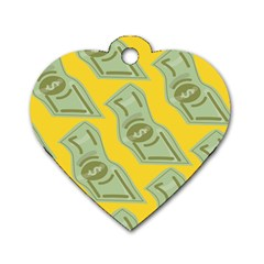 Money Dollar $ Sign Green Yellow Dog Tag Heart (two Sides) by Alisyart