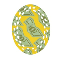 Money Dollar $ Sign Green Yellow Oval Filigree Ornament (two Sides) by Alisyart