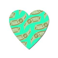 Money Dollar $ Sign Green Heart Magnet by Alisyart