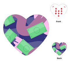 Money Dollar Green Purple Pink Playing Cards (heart)  by Alisyart