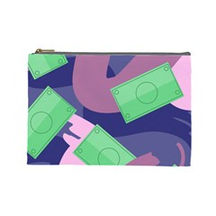 Money Dollar Green Purple Pink Cosmetic Bag (large)  by Alisyart